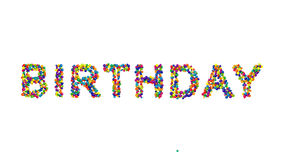 Dynamic colorful greeting card design. With creative text formed from densely packed rainbow colored balls  on white with copy space for your wishes or message Stock Photos