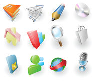 Dynamic Colour Web and Application Icon Set. A set of silver steel or aluminium shiny glossy metal metallic internet application icon set series Stock Photography