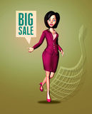 Dynamic 3D Businesswoman Announces Big Sale. Enthusiastic 3D Digital Businesswoman in a red dress, standing in front of a green background with her hand stock illustration