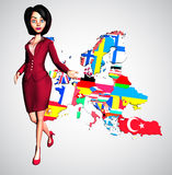 Dynamic 3D Businesswoman Welcomes to Europe. Dynamic, Enthusiastic 3D Digital Businesswoman outstretches her hand with a Digital Map of Europe behind her on a royalty free illustration