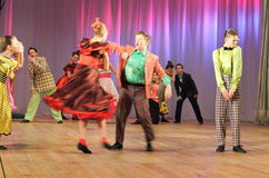 Dynamic dancing teenagers Stock Photos