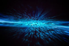 Dynamic explosion of blue energy. Landscape interior Royalty Free Stock Photos