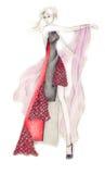 Dynamic Fashion Illustration. Fashion illustration of a female model in a dynamic pose vector illustration