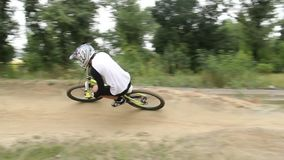 Dynamic fast BMX circuit race performed by 2 riders, competition. Stock footage stock footage