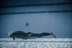 Dynamic Without Fins (DNF) Performance from Underwater Royalty Free Stock Photography
