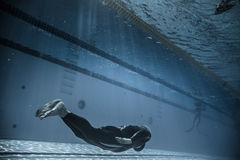 Dynamic Without Fins (DNF) Performance from Underwater Royalty Free Stock Image