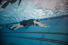 Dynamic with Fins Freediver Performance from Underwater Stock Photography
