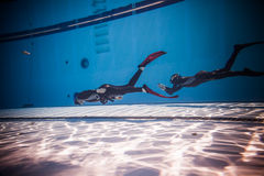 Dynamic with Fins Freediver Performance from Underwater Royalty Free Stock Photos