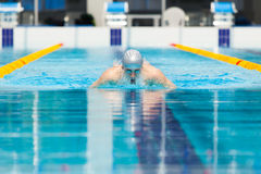 Dynamic and fit swimmer in cap breathing performing the butterfly stroke Royalty Free Stock Photography