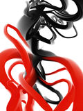 Dynamic forms. A digital painting of red and black forms blending Royalty Free Stock Photos