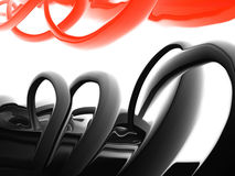 Dynamic forms. A digital painting of red and black forms Royalty Free Stock Photo