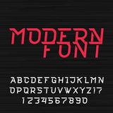 Dynamic futuristic alphabet vector font. Modern style type letters and numbers. Vector typeface for headlines, labels, posters or logo design Royalty Free Stock Photo