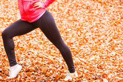 Dynamic girl stretching in forest. Royalty Free Stock Photo