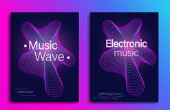 Dynamic gradient shape. Music flyer design with abstract gradient line waves. Electronic music party. Modern concert banner. Trend royalty free illustration