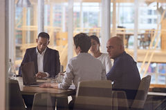 Dynamic group of diverse multiethinic business people in modern office Royalty Free Stock Images