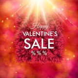 Dynamic Happy Valentines Sale design. Dynamic Happy Valentines Sale poster with the text over a frame of petals under a bright starburst or explosion with a Royalty Free Stock Photos