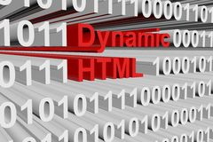 Dynamic html. In the form of binary code, 3D illustration vector illustration