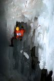 Dynamic ice. Competition ice climber on route with large chunk of ice falling Stock Photography