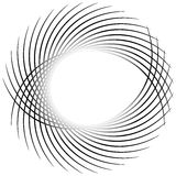 Dynamic irregular lines forming a circle element. Geometric shap Stock Image