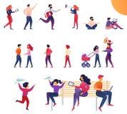 Dynamic Life Parents and Children Cartoon Flat. stock illustration