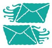 Dynamic light blue letters icons illustration. Dynamic light blue enveloped letters icon illustration stock illustration