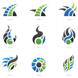 Dynamic Logos. Dynamic logo shapes and graphic design elements Stock Images