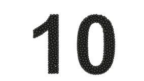 Dynamic magnetic spheres as number 10 stock video footage