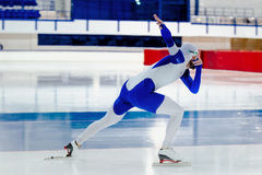 Dynamic male speed skater. Competition in speed skating Royalty Free Stock Photos