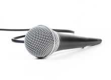 Dynamic mic with a curled cable Stock Images