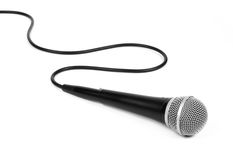 Dynamic mic with a curled cable Royalty Free Stock Images