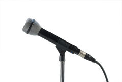 Dynamic microphone. On a stand isolated on white with clipping path Royalty Free Stock Images
