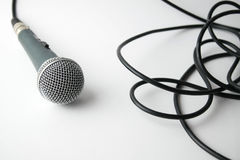 Dynamic microphone with cable on white background Stock Photo