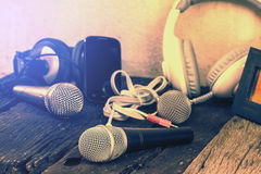 Dynamic microphone On the old wooden floor Royalty Free Stock Images