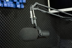 Dynamic microphone in recording studio Stock Image