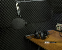 Dynamic microphone in recording studio Royalty Free Stock Images