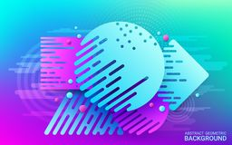 Dynamic motion of geometric shapes. Blue and violet flat shape on bright background. Colorful futuristic abstract image. stock illustration
