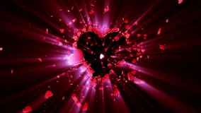 Love symbol. Valentine. 3D animation. The dynamic movement of small hearts. Creating a big shining heart. Available in high-resolution and several sizes to fit stock video