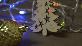 Dynamic new year`s decorations, Christmas toys and objects stock video