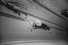Dynamic no Fins Freediver during Performance from Underwater Stock Image