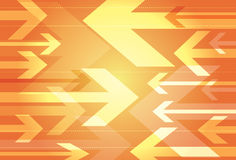 Dynamic orange background of opposing arrows. In a variety of sizes facing towards each other Stock Images