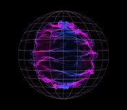 Dynamic particles wave from nodes. 3d sea flow dark array. Vector abstract globe background. Stream by glowing dots stock illustration
