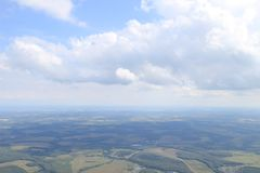 Skydiving view. Dynamic photo. Skydiving view from four thousand meters Stock Photos