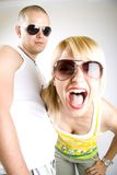 Dynamic picture of a casual young couple Royalty Free Stock Photos