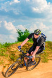 Dynamic picture of a cyclist in motion Royalty Free Stock Photography