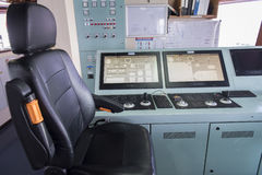 Dynamic position control panel on ship tanker . Royalty Free Stock Photos