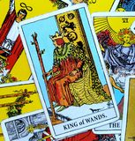 King of Wands Tarot Card Dynamic  Powerful  Strong  Leader  Ruler  Boss  Director  Experienced  Mentor  Role-Model  Goal-Sette Royalty Free Stock Photos