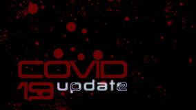 Dynamic red text COVID 19 update title animation on black background