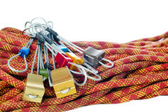 Dynamic rope and set of climbing chocks Royalty Free Stock Images