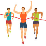 Dynamic running boys crossing finish line. Dynamic running men crossing finish line.Competition event. Sport and healthy lifestyle illustration for your design Stock Photo