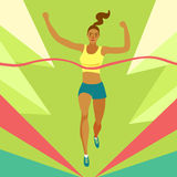 Dynamic running girl crossing finish line. Sport and healthy lifestyle illustration for your design Royalty Free Stock Photography